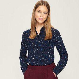 Sinsay - Wzorzysta koszula - Granatowy