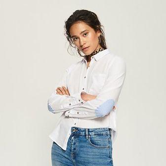 Sinsay - Koszula z łatami na łokciach - Biały