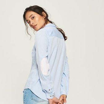 Sinsay - Koszula z łatami na łokciach - Niebieski