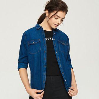 Sinsay - Jeansowa koszula - Granatowy