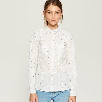Sinsay - Bawełniana koszula z wzorem - Biały