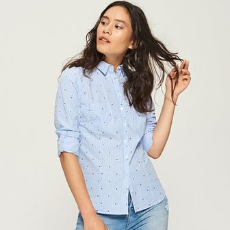 Sinsay - Bawełniana koszula z wzorem - Niebieski