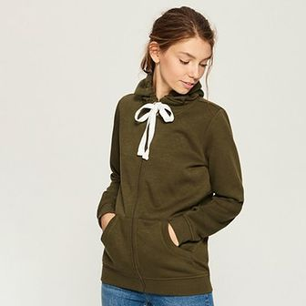Sinsay - Dzianinowa bluza z kapturem - Khaki