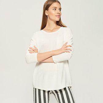 Sinsay - Sweter z kieszenią - Kremowy