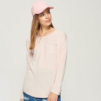 Sinsay - Sweter z kieszenią - Różowy