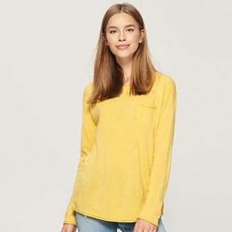 Sinsay - Sweter z kieszenią - Żółty