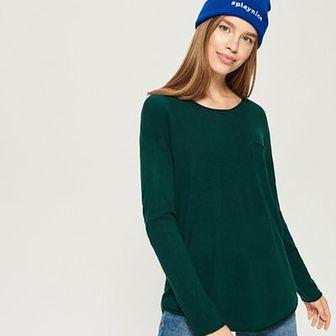Sinsay - Sweter z kieszenią - Turkusowy