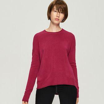 Sinsay - Gładki sweter basic - Fioletowy