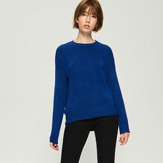 Sinsay - Gładki sweter basic - Niebieski