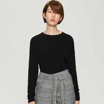 Sinsay - Gładki sweter basic - Czarny