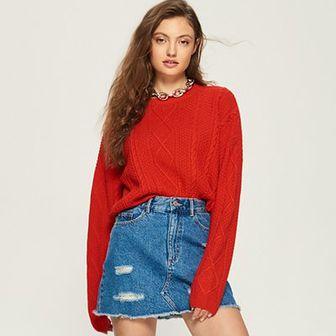 Sinsay - Sweter z warkoczowym splotem - Czerwony