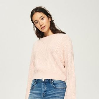Sinsay - Sweter z warkoczowym splotem - Różowy