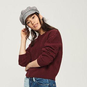 Sinsay - Sweter z warkoczowym splotem - Fioletowy