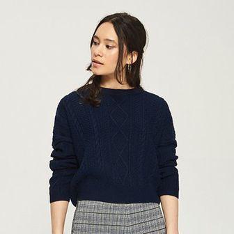 Sinsay - Sweter z warkoczowym splotem - Niebieski
