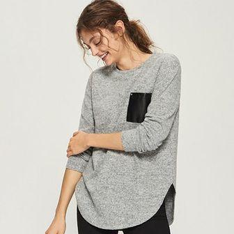 Sinsay - Sweter z kieszenią - Jasny szar