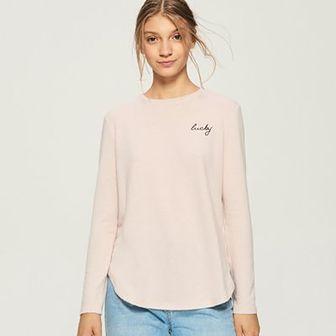 Sinsay - Sweter z haftowanym napisem - Różowy