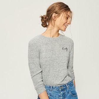 Sinsay - Sweter z haftowanym napisem - Jasny szar