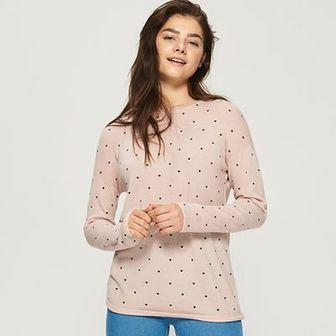 Sinsay - Dzianinowy sweter - Różowy