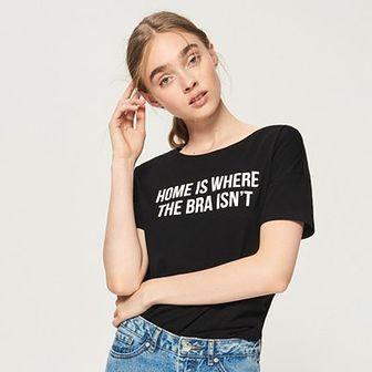 Sinsay - Koszulka z napisem - Czarny