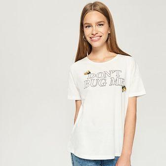 Sinsay - T-shirt z aplikacją - Kremowy