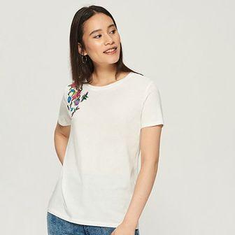 Sinsay - T-shirt z kwiatowym haftem - Kremowy