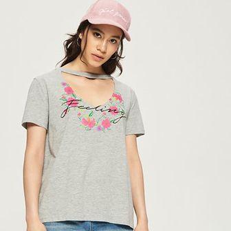 Sinsay - T-shirt z chokerem - Jasny szar