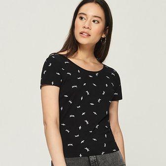 Sinsay - T-shirt z wycięciem na plecach - Czarny