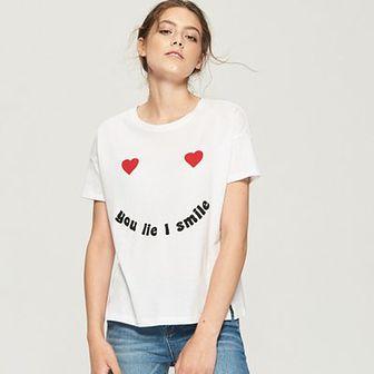 Sinsay - T-shirt z nadrukiem - Biały