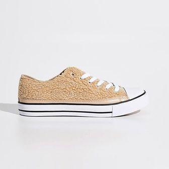 Sinsay - Pluszowe buty - Beżowy