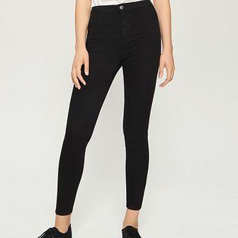Sinsay - Jeansy skinny high waist - Czarny