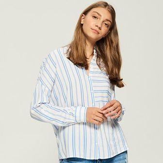 Sinsay - Koszula oversize w pasy - Niebieski