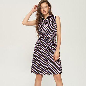 Sinsay - Koszulowa sukienka w paski - Wielobarwn