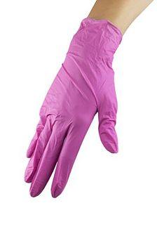 Rękawice nitrylowe ze środkiem nawilżającym - Pink Rose L